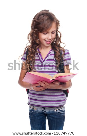 beautiful little girl with book. isolated on white background - stock photo