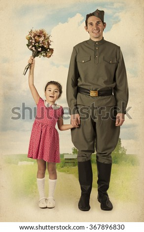 Beautiful little girl with bunch of flowers and Soviet soldier in uniform of World War II.  Monochrome, grunge textures, intentional styled to the 1940  - stock photo