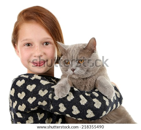 Beautiful little girl with cat isolated on white - stock photo
