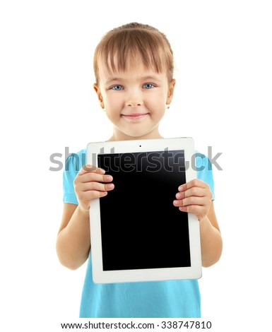 Beautiful little girl with digital tablet, isolated on white - stock photo