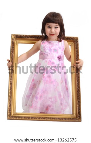 Beautiful little girl with frame on white background