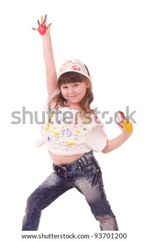 Beautiful little girl with hands in the color paint on white background - stock photo