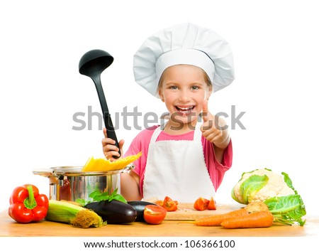 beautiful little girl with spaghetti and vegetables over white - stock photo