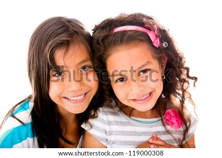 Beautiful little girls smiling - isolated over a white background - stock photo