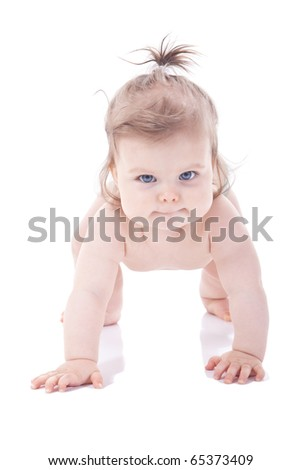 beautiful little girls who crawls on a white background