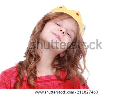 Beautiful little princess - fair-haired girl with tiara isolated on white on Holiday theme/portrait of lovely girl in paper crown - stock photo