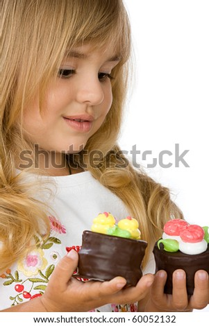 Beautiful Little with cakes, isolated over white