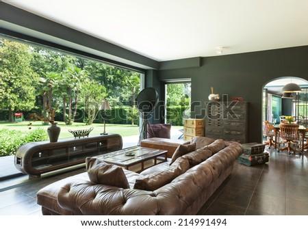 beautiful living room, classic furniture, interior - stock photo