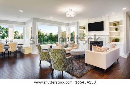 Beautiful Living Room in New Home - stock photo