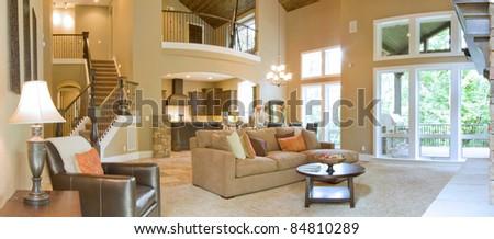 Beautiful Living Room Panorama - stock photo