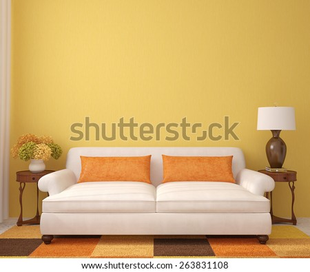 Beautiful Living Room With White Couch Near Empty Yellow Wall. 3d Render. Part 95