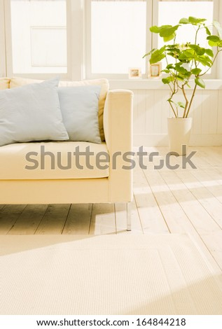 beautiful living room with white sofa - stock photo