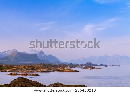 Beautiful Lofoten landscape view in midnight sun time, Norway - stock photo