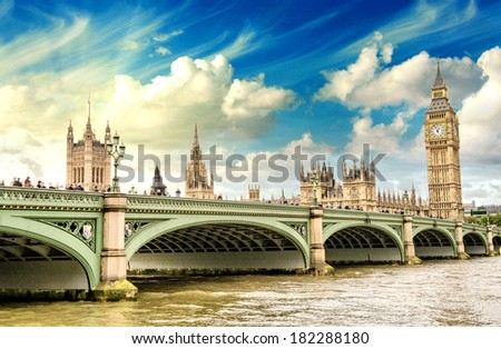 Beautiful London architecture. Houses of Parliament and Westminster bridge. - stock photo