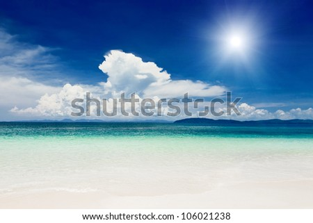 Beautiful lonely beach in Krabi province, Thailand - stock photo