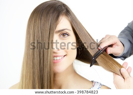 Beautiful long hair being combed