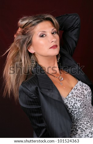 beautiful long hair woman portrait, studio shot