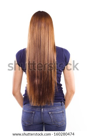 Beautiful long hair. woman . studio . back - stock photo