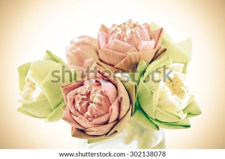 beautiful lotus with vintage style - stock photo