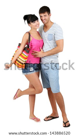 Beautiful loving couple at summer vacation isolated on white