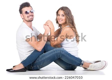 Beautiful loving couple, isolated on white background - stock photo