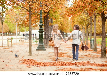 Beautiful loving couple on a fall day