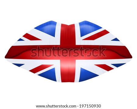 Beautiful luscious lips with flag of Great Britain texture. Isolated on white background. - stock photo