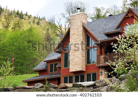 Beautiful luxurious house or cottage in the hills spring time