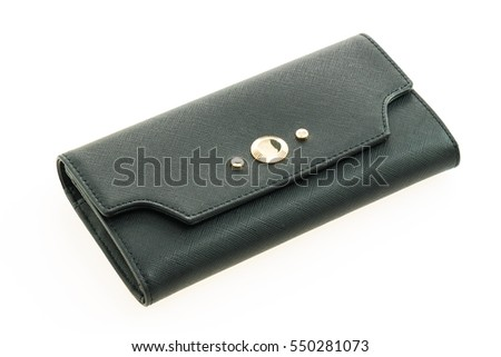 Beautiful luxury black leather woman wallet isolated on white background