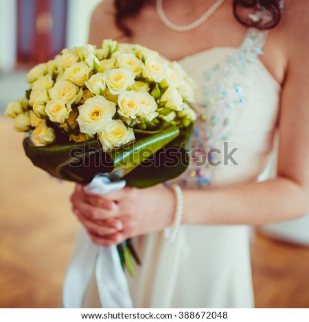 Beautiful luxury bride bouquet of roses