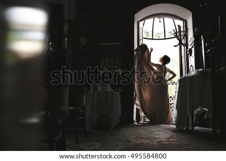 Beautiful luxury bride in the vintage restaurant