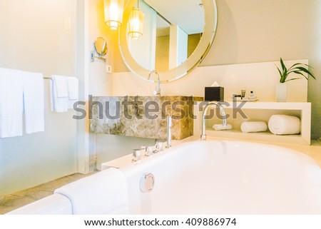 Beautiful luxury decoration in bathroom interior - Vintage light Filter - stock photo