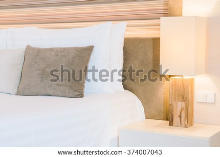 Beautiful luxury hotel bedroom interior decoration with light lamp - Filter effect