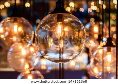 beautiful luxury lighting lamp decor in Bangkok, Thailand. - stock photo