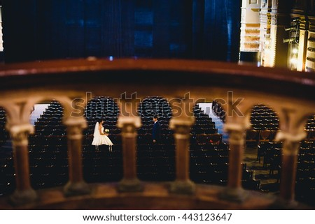 Beautiful luxury newlyweds in the theater