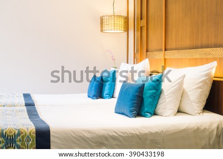 Colorful pillows room stock photo 494675446 shutterstock for Beautiful bed decoration