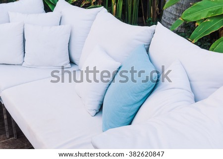 Beautiful luxury Pillow on sofa decoration in livingroom interior - Vintage Light Filter