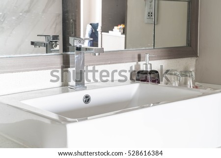 Beautiful luxury sink decoration in bathroom interior for background - Vintage Light filter