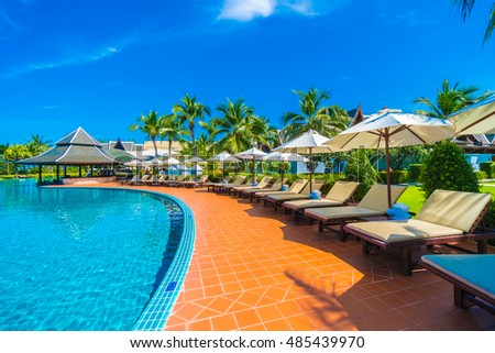Outdoor Swimming Pool Beautiful Tropical Maldives Stock Photo