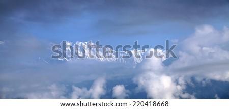 Beautiful Machhapuchhre and Annapurna range from Sarangkot peak - stock photo