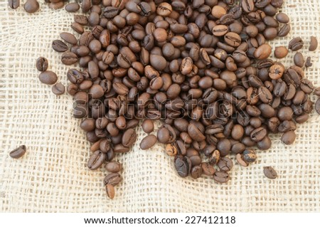 beautiful macro background of coffee with jute