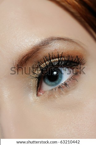 Beautiful macro shot of blue eye with long lashes and make-up in brown tones