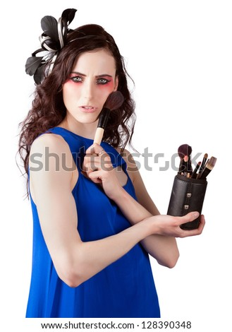 Beautiful Make Up Artist Woman Holding Foundation Powder Brushes In A Cosmetics Application Concept Over White Background - stock photo