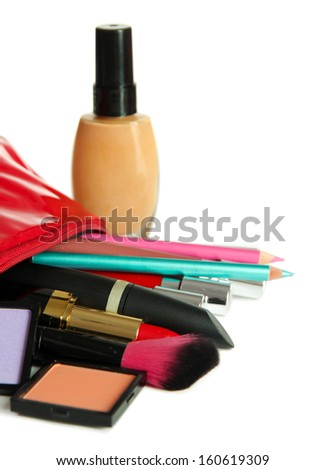 Beautiful make up bag with cosmetics , isolated on white