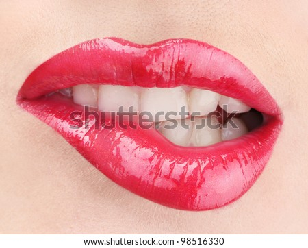 beautiful make up of glamour red gloss lips - stock photo