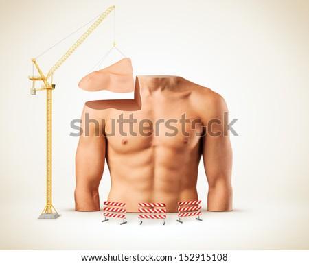 Beautiful male torso. Construction of body. Bodybuilding. Fitness - stock photo