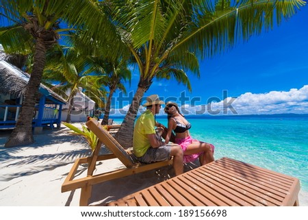 beautiful man and woman  at the sea on the Philippine island - stock photo