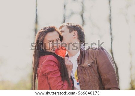 Beautiful man and woman kissing. Love