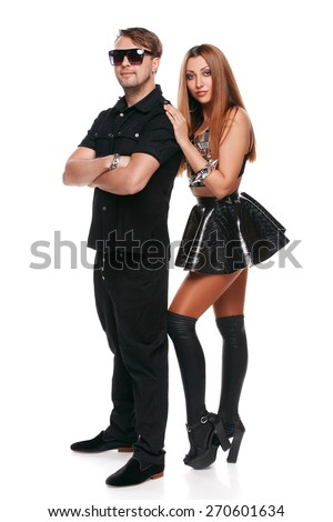 Beautiful man and woman, models of fashion. Young atractive couple, isolated on white background