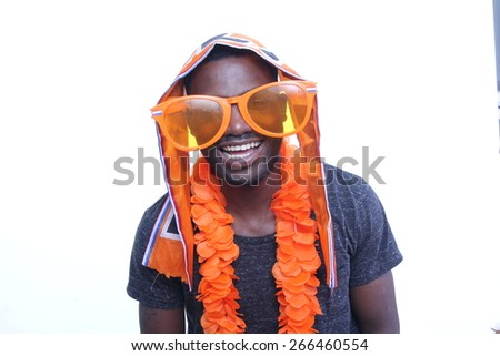 Beautiful man loves Holland - stock photo